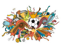 Doodle colorful soccer composition with sport objects and decoration elements Royalty Free Stock Image