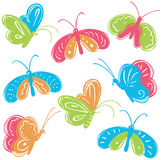 Doodle colorful vector butterfly collection Royalty Free Stock Image