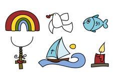 Doodle colorido ajustado: Símbolos religiosos Imagem de Stock