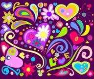 Doodle colorido del amor Imágenes de archivo libres de regalías