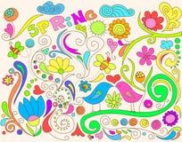 Doodle colorido del resorte stock de ilustración