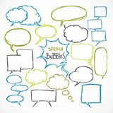 Doodle comic speech bubbles set Stock Photography