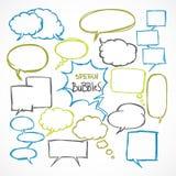 Doodle comic speech bubbles set. Doodle comic speech bubbles design elements set isolated vector illustration Stock Photography