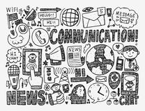 Doodle communication background. Cartoon vector illustration Royalty Free Stock Image