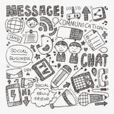Doodle communication background. Cartoon vector illustration Royalty Free Stock Photo
