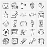 Doodle communication icons set Royalty Free Stock Images