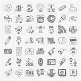 Doodle communication icons set Royalty Free Stock Photography