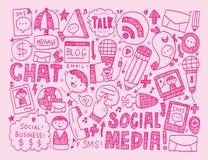 Doodle communication icons set Stock Photography