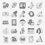 Doodle communication icons set Stock Images