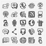 Doodle communication icons set Stock Photography