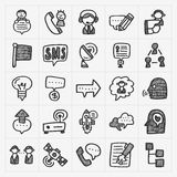 Doodle communication icons set Stock Photos