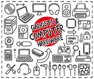 Doodle Computer Hardware icons. Doodle Gadgets and Computer Hardware icons set. Freehand drawn graphic elements vector illustration