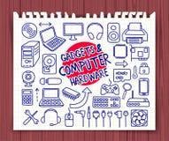Doodle Computer Hardware icons royalty free illustration