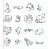 Doodle computer icons Royalty Free Stock Photos