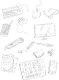 Doodle computer things and stationery Stock Photo