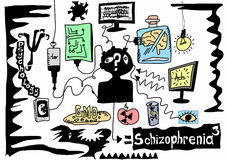 Doodle concept schizophrenia Royalty Free Stock Images