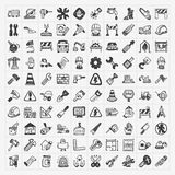 Doodle construction icons stock illustration
