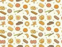 Doodle cookies and biscuit seamless pattern Stock Photos