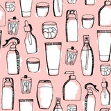 Doodle cosmetic pattern. Fashion background with makeup items. Royalty Free Stock Photos