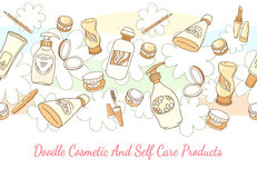 Doodle cosmetic and self care products hand drawn. Background. Lotion and shampoo, tube and powder horizontal seamless pattern. Hand drawn cosmetic and self royalty free illustration