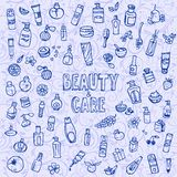 Doodle cosmetics and self-care icons. Vector illustration Stock Photo