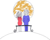 Doodle couple sitting on a bench Stock Images