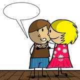 Doodle couple with speech bubble Stock Photography