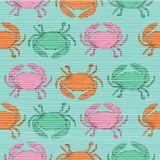 Doodle crab fun pattern with stripe. Print vector or background and illustration Stock Image