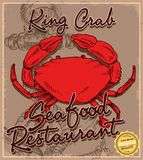 Doodle crab menu. Print vector art background and illustration Stock Photos