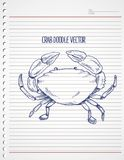 Doodle crab on paper. Print vector art background and illustration Royalty Free Stock Image