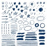Doodle with crayons. Set of hand drawn stars, hearts, sun, arrows. Brush strokes of pencil or pastel. Vector illustration Stock Photo