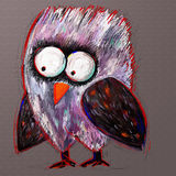 Doodle crazy owl, digital painting illustration Royalty Free Stock Photo