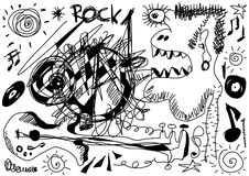 Doodle crazy rock music Stock Images