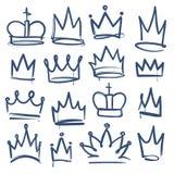 Doodle crown. Kingdom tiaras crowns king queen corona princess diadem sketch doodle drawn royal jewel imperial stock illustration