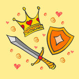 Doodle of crown and sword collection Stock Images