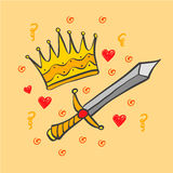 Doodle crown and sword collection Stock Photos
