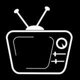 Doodle of CRT TV at Black Background Stock Image