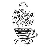 Doodle cup with ornaments. Stock Photos