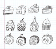 Doodle cupcake icons Royalty Free Stock Photos