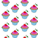 Doodle cupcake pattern with cherry. Royalty Free Stock Image