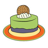 Doodle cupcake on plate Stock Images