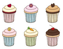 Doodle Cupcake Set. Set of six hand drawn cupcakes. The decorations are interchangeable Royalty Free Stock Photos
