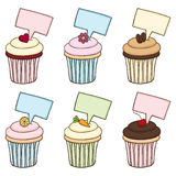 Doodle Cupcake Set with Signs Royalty Free Stock Image