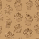 Doodle cupcakes pattern Royalty Free Stock Image