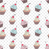 Doodle cupcakes pattern Stock Image