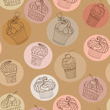 Doodle cupcakes pattern Royalty Free Stock Images