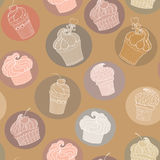 Doodle cupcakes pattern Stock Photos