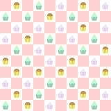 Doodle cupcakes seamless pattern Stock Photo