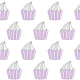 Doodle cupcakes seamless pattern Royalty Free Stock Photography