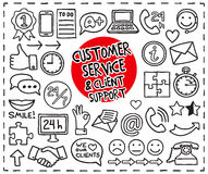Doodle Customer Service icons. Set. Freehand drawn graphic elements. Vector illustration Royalty Free Stock Photo